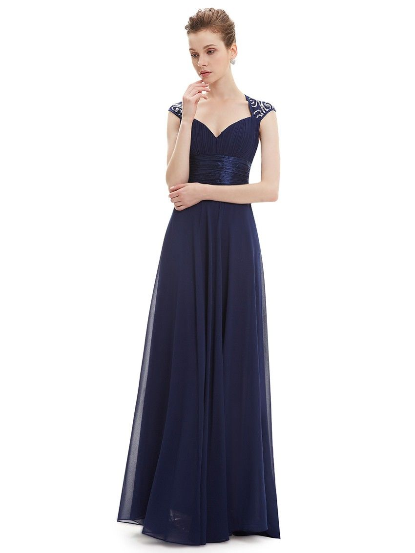 Long evening dress with queen anne neckline queen anne neckline