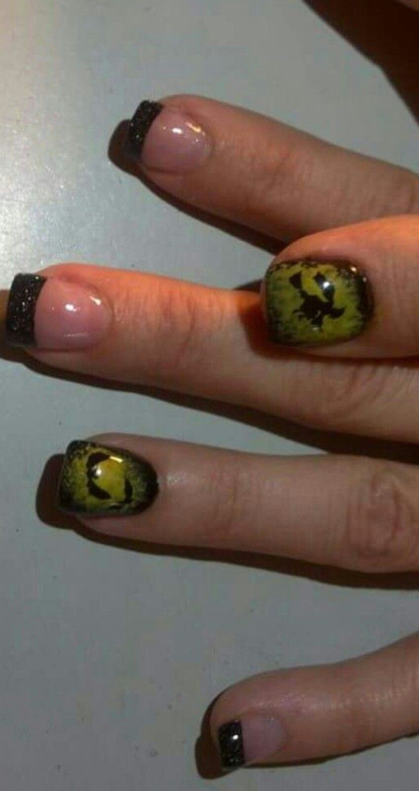 Halloween nails! Glitter acrylic french tip nails with sponges nail ...