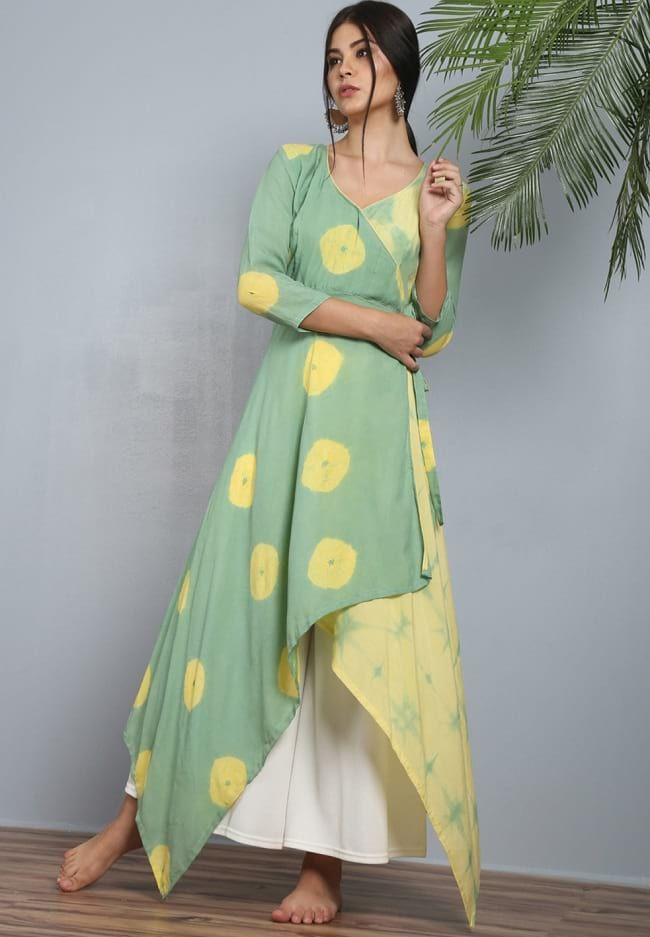 3e0a2f6f725 The Secret Label Green   Yellow Angrakha Trail Cut Kurti