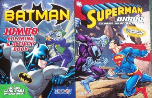 DC Comic Jumbo Coloring Activity Book Set Batman Superman By Bendon 1194 2 Books Full Of Puzzles Pictures To Color And Other Fun Activities