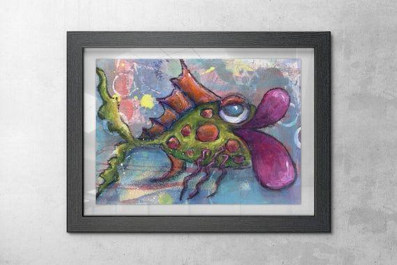 RWhimsical Big Lip Fish Art Print Art Fish Fish ARt Green pink purple orange Coastal Beach House Nautical Ocean Sea Life Blue Fish Painting