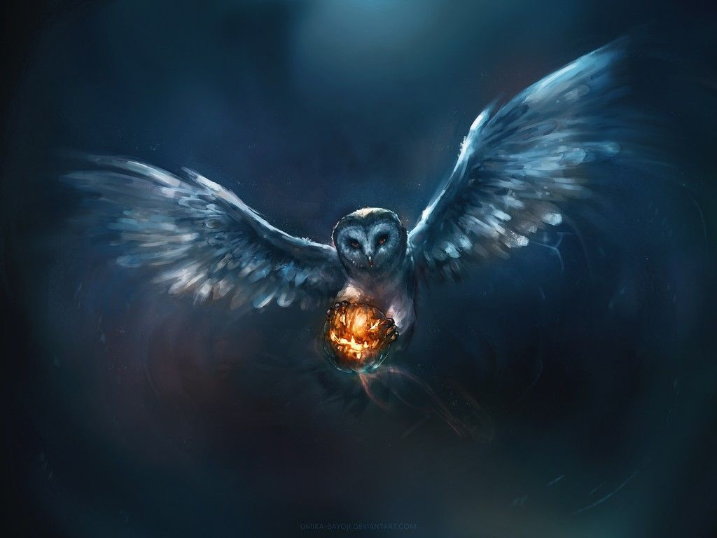 free download owl in flight with pumpkin in its talons painting on magic background halloween best wallpapers for pc and laptop iphone ipad android ios