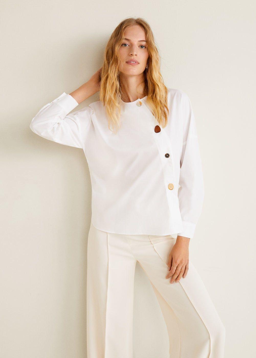 016e7e78 Cotton fabric Wrap design Long sleeve Round neck Asymmetrical button closure