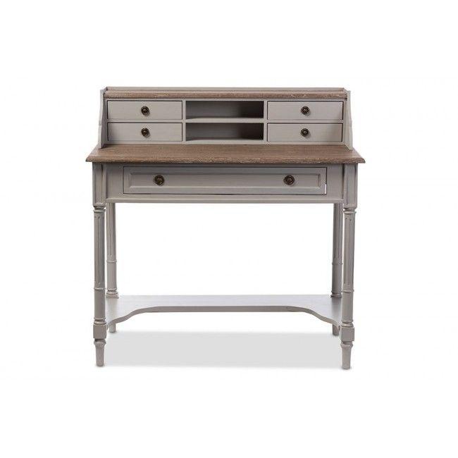 Edouard French White Wash Distressed 2 Tone Writing Desk Edd3vm M B W1 Home Office Furniture Wood Writing Desk Shabby Chic Desk