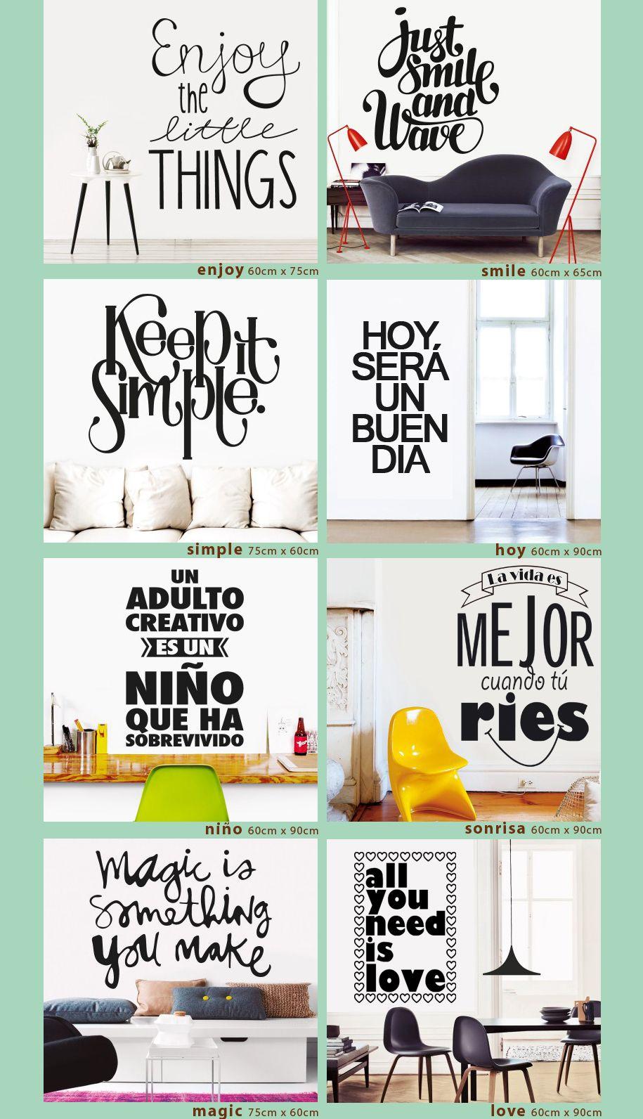 Vinilos decorativos frases y textos depto pinterest for Vinilos pared frases