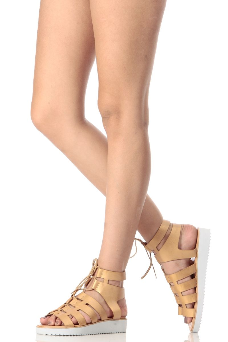 0acdc088ba56 Golden Metallic Lace Up Platform Sandal   Cicihot Sandals Shoes online  store sale Sandals