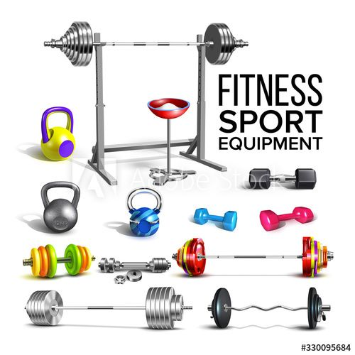 Barbells, Kettlebells And Dumbbells Set Vector. Collection Of Different Barbells Fitness Sport Equip...