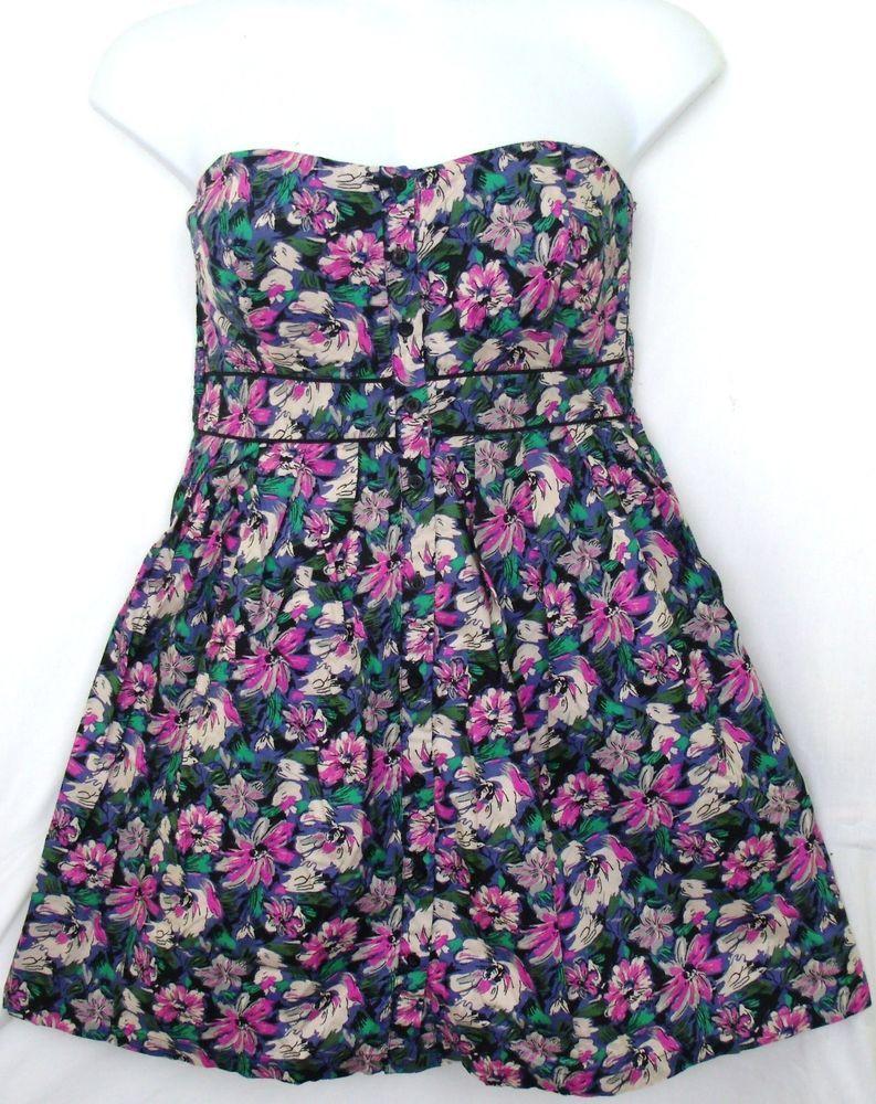 Xhilaration sweetheart tube sun dress empire waist floral print size