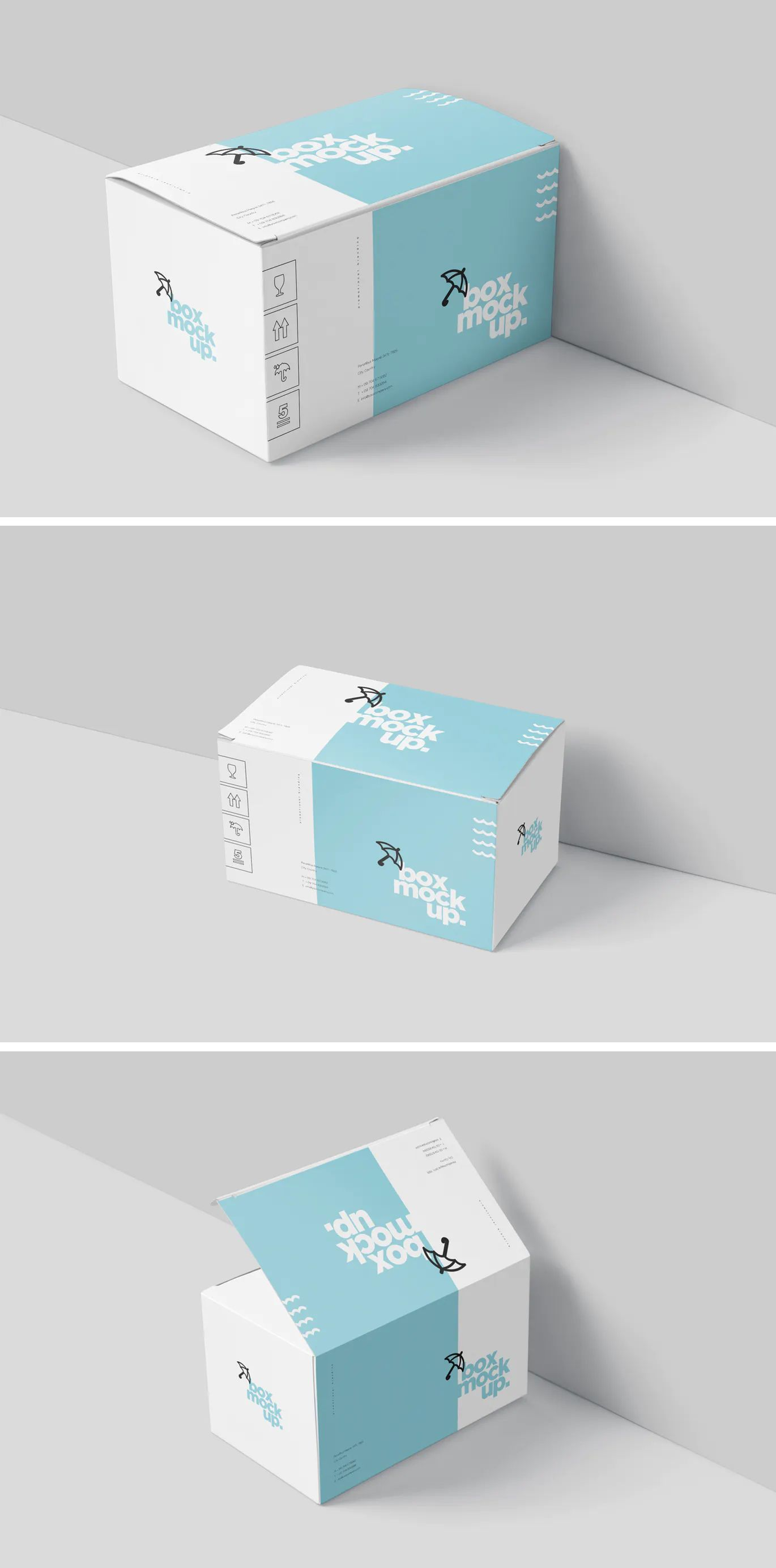 Download Box Mockup Set - Wide Rectangle Big Size in 2020 | Box ...