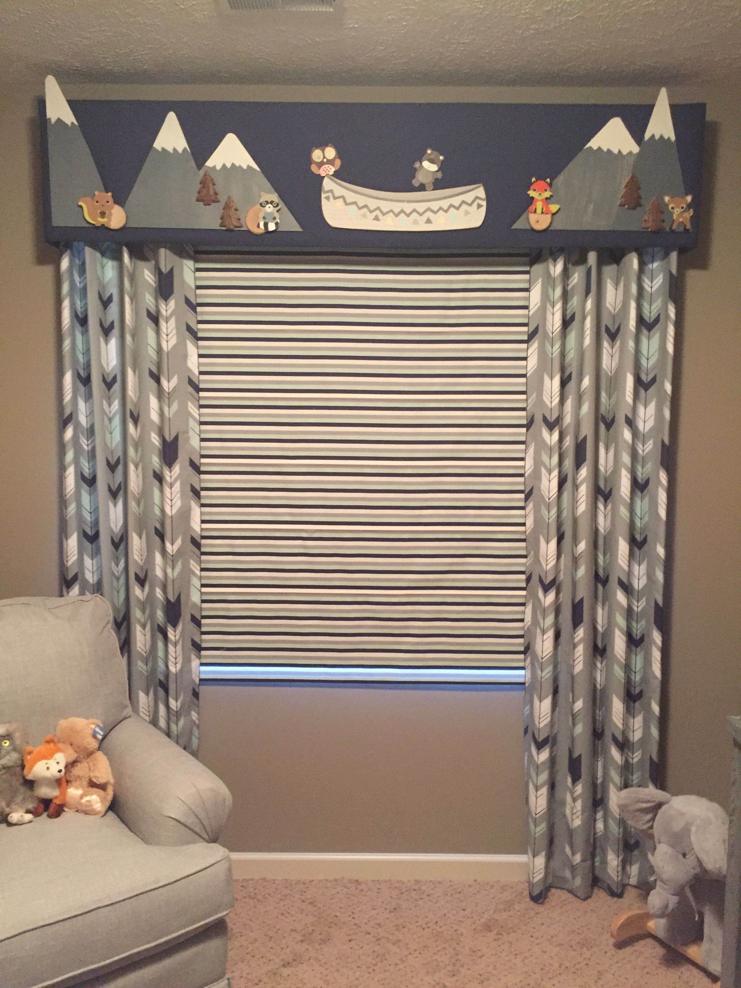 Nursery window ideas  custom baby boy nursery valance roman shade and side curtains by