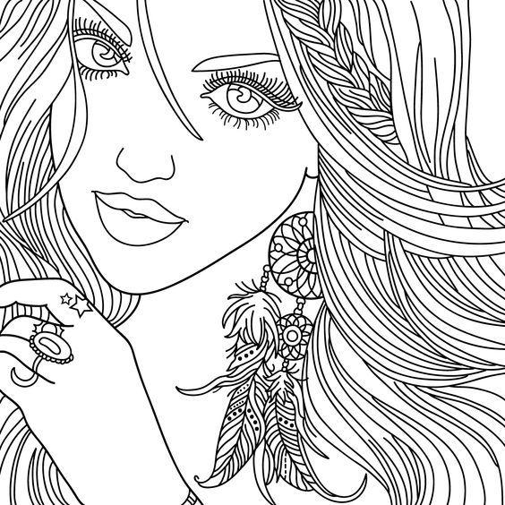 Картинка девушка для раскрашивания