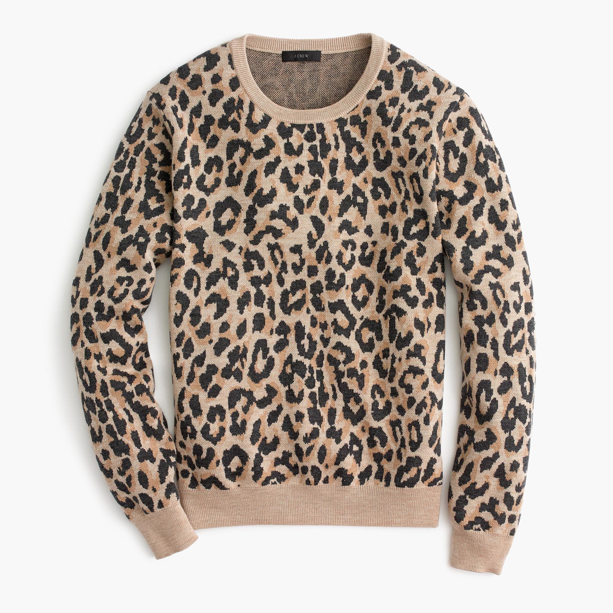 J Crew Merino Crewneck Sweatshirt In Cheetah Leopard Sweater Crew Neck Sweatshirt Sweaters For Women [ 2000 x 2000 Pixel ]