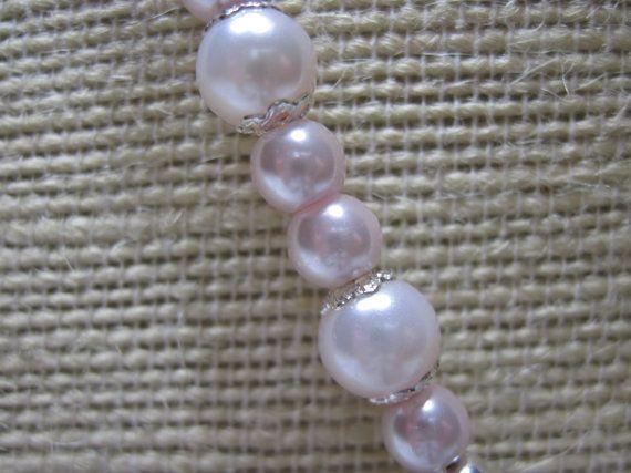 Pink Pearl Necklace  Glass Pearl Necklace  by LimeysTreasureChest, $40.00    #handmade #etsy #women #fantasy #victorian #wedding #jewelry #necklace #glass #pink #pearl #pearls #satin #swarovski #crystals #antique #silver #teen #valentines #filigree #ooak