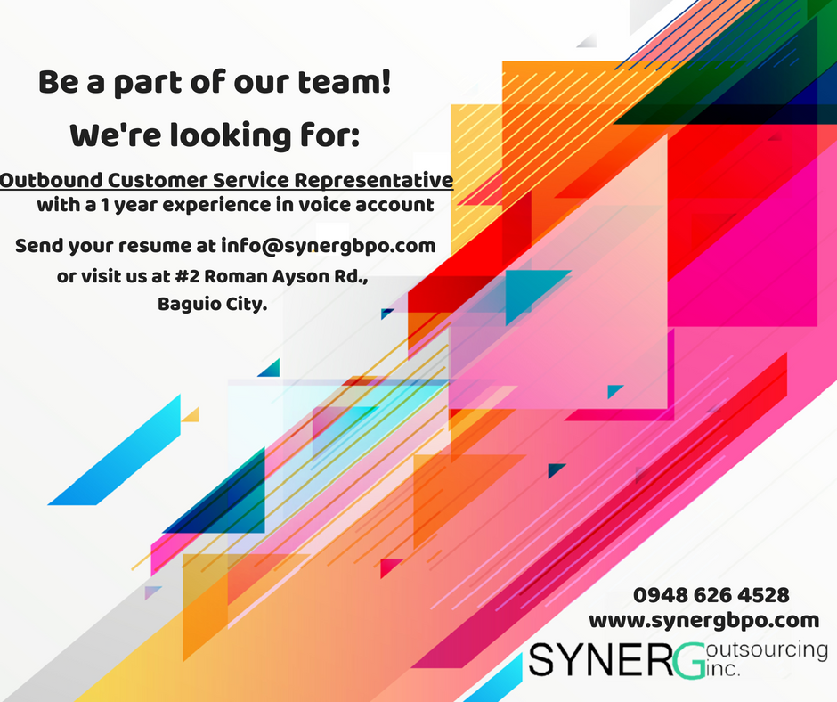 Jumpstart your awesome career with Syner G Outsourcing Inc
