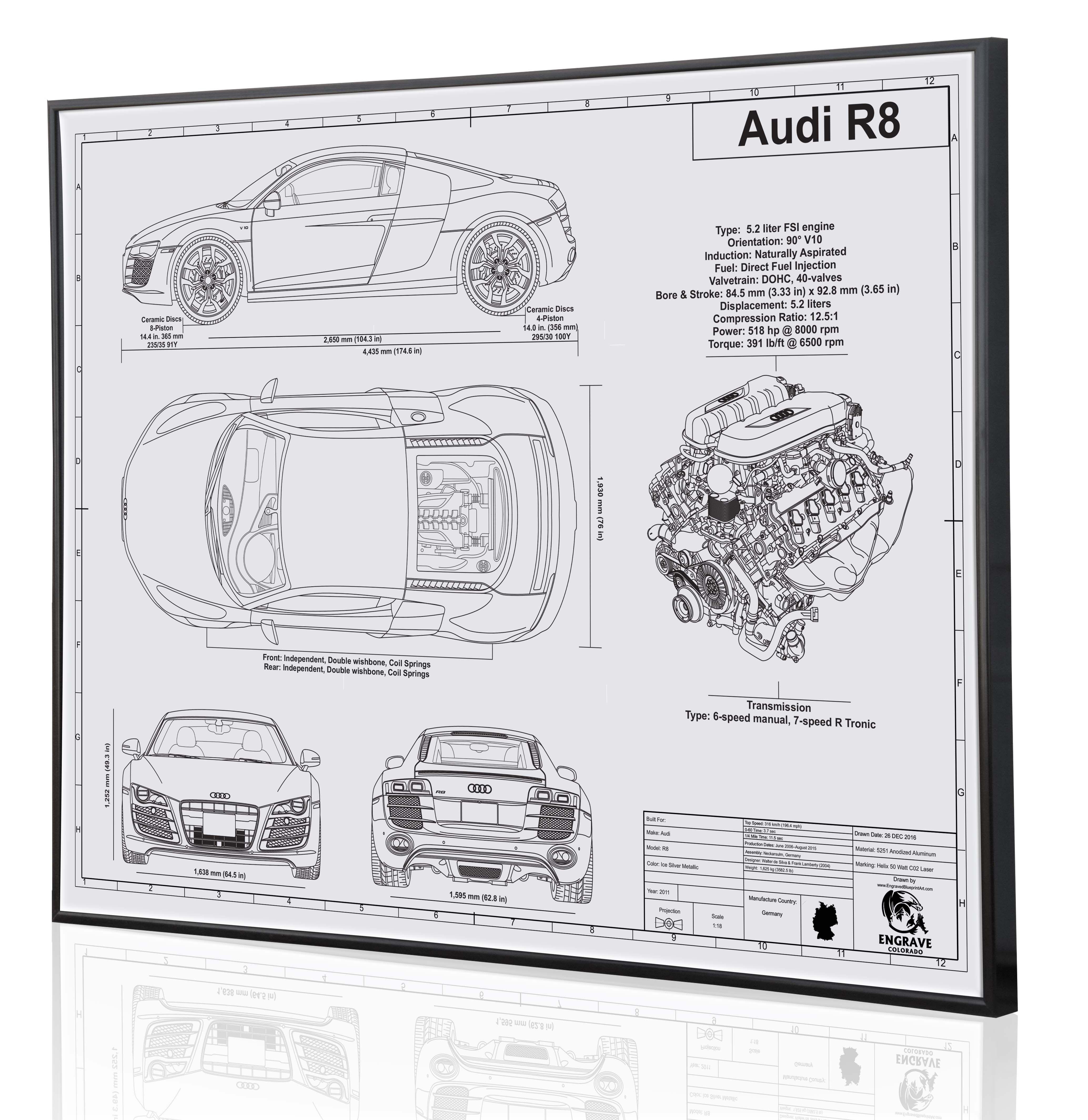 Audi r8 laser engraved blueprint artwork this piece is shown on audi r8 laser engraved blueprint artwork this piece is shown on white acrylic www malvernweather Images