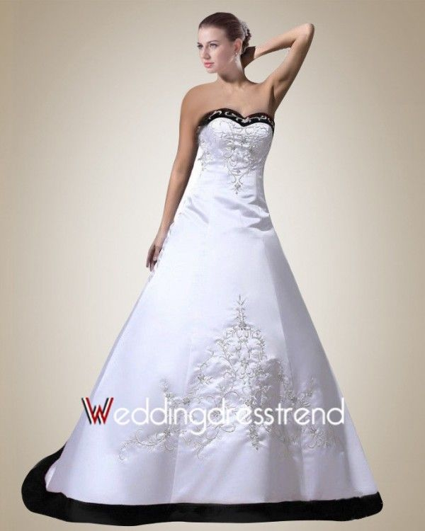 Formal Satin Sweetheart Embroidery Black Wedding Dress