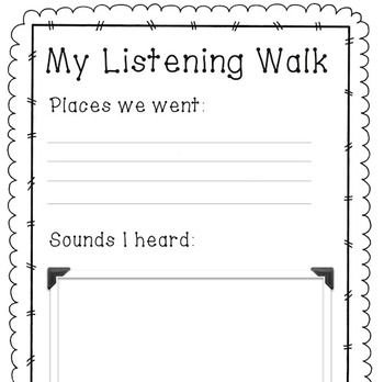 Listening Walk Worksheet With Images Relief Teaching Ideas