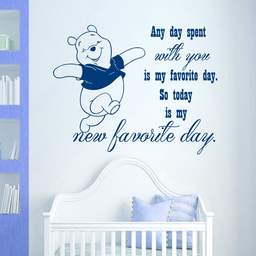 Winnie the pooh wall decal quote any day spent with you is my
