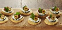 Gluten Free Cheese Biscuits with Goats' Cheese & Chutney
