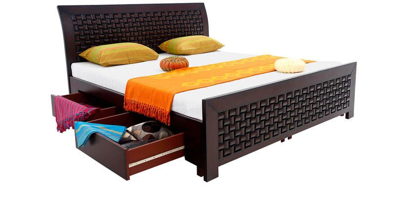 Buy Maaz Queen Size Bed with Storage in Wenge Colour by Looking Good  Furniture Online. Buy Maaz Queen Size Bed with Storage in Wenge Colour by Looking