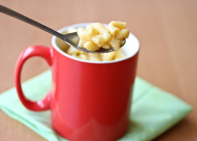5 Minute Mug Macaroni and Cheese,  1/3 cup pasta  1/2 cup water  1/4 cup 1% milk  1/2 cup shredded cheddar cheese