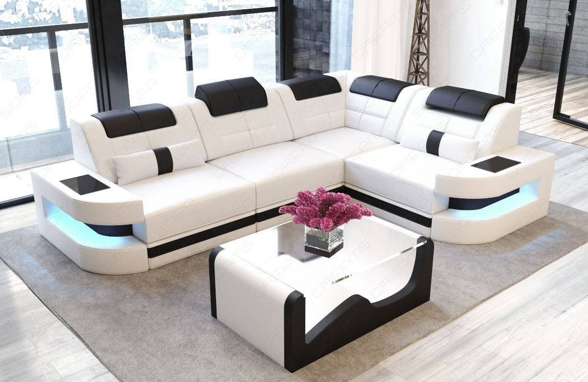 Luxury Sofa Couch Modern Denver L Shape With Lights White Black Luxury Sofa Leather Sectional Sofas Leather Couch
