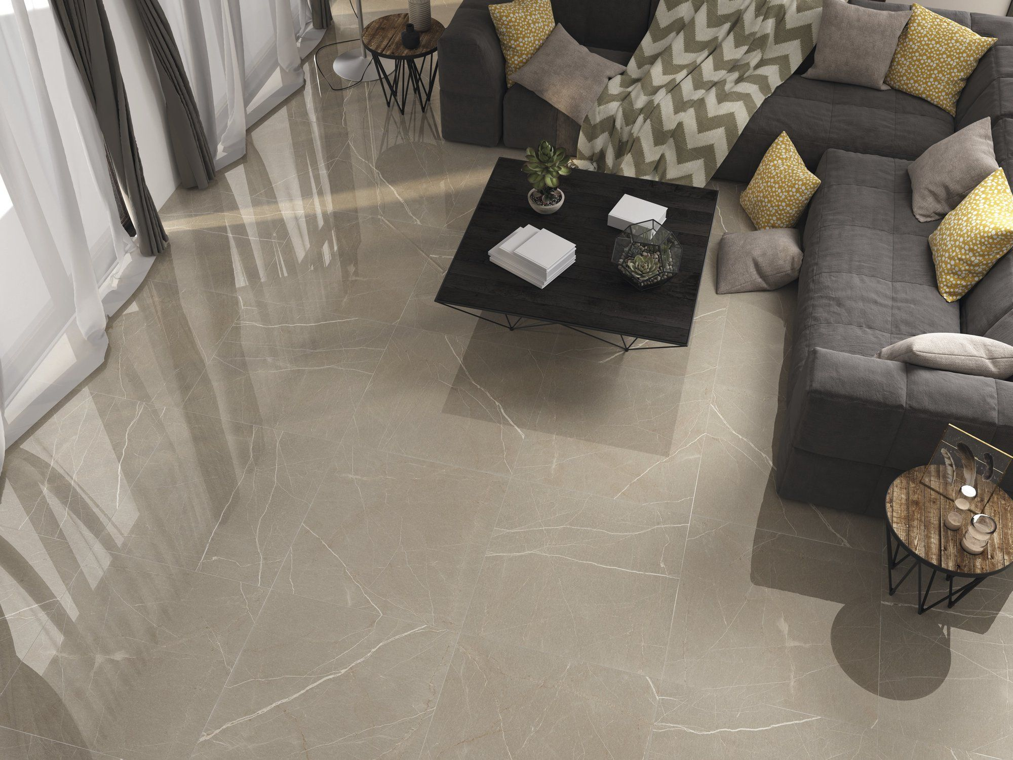 Fastination 75x75cm From Ape Gives The Elegance And Timelessness Of Marble In The Hues Of Cool Neutral Color Living Room Tiles Loft Living Living Room Flooring