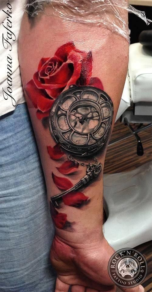 621f2d3bf 3D style colored tattoo of red rose with mechanical clock and key ...
