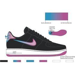 Nike Herren Freizeitschuhe Air Force 1, Größe 41 in Schwarz