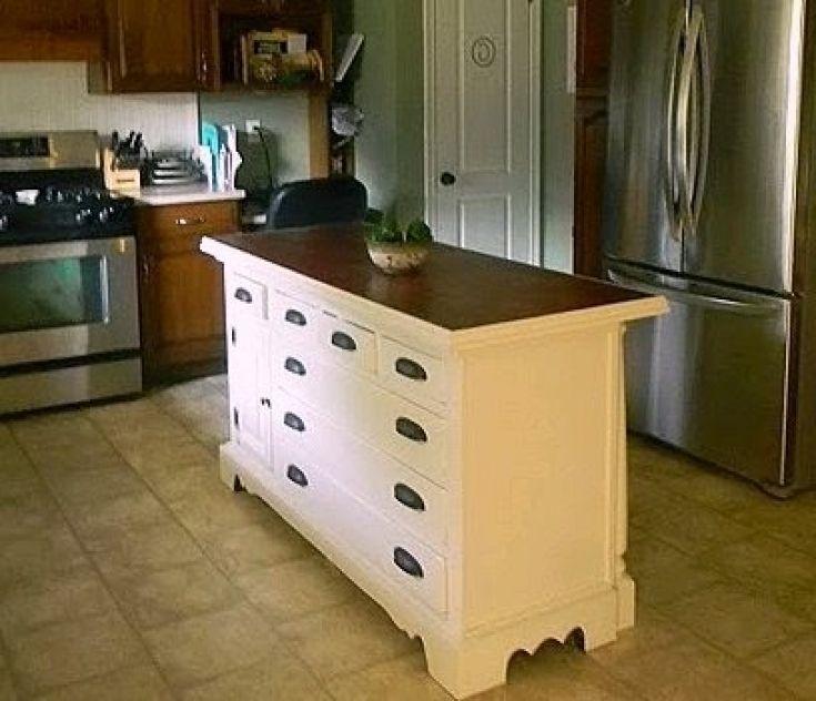 Cozy Kitchen Island Made Out Of Dresser | Kitchen Design Photo