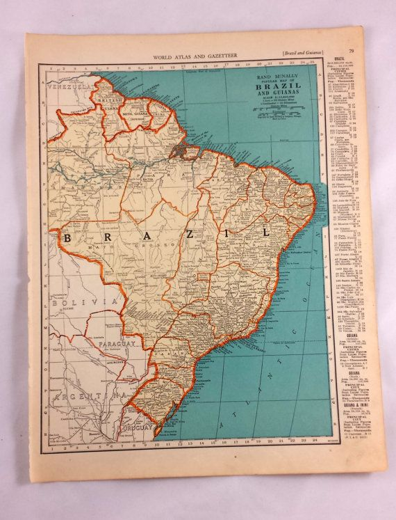 Antique map of brazil vintage maps of brazil and the guianas antique map of brazil vintage maps of brazil and the guianas bolivia 1938 historical print lithograph framing old 80 year old map pinterest gumiabroncs