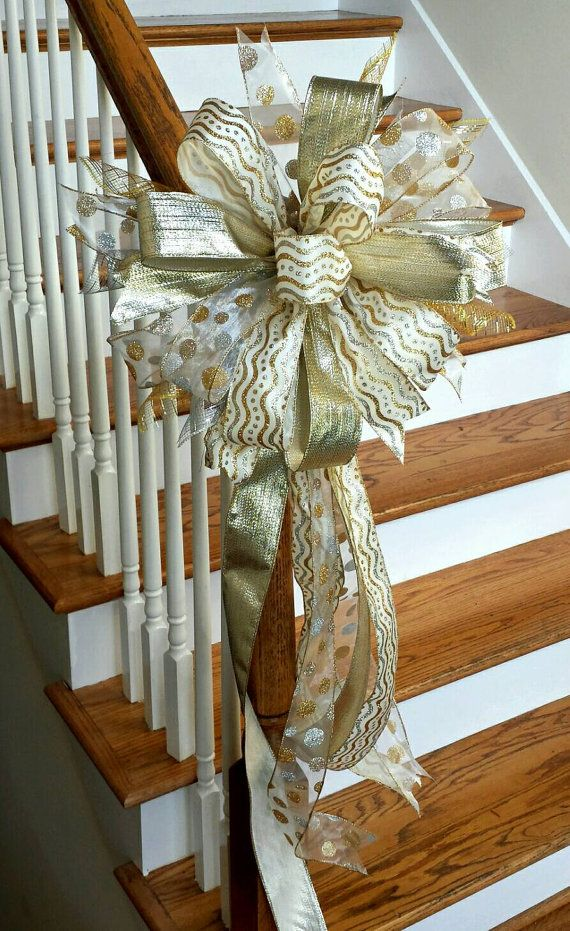 Silver and Gold Christmas Tree Topper Bow by SouthernWreathsAL