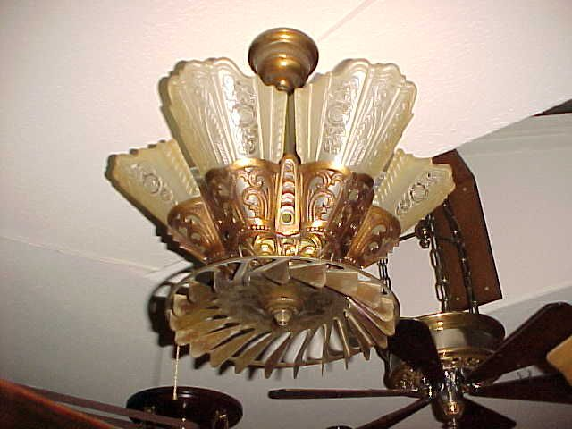 Antique Art Deco Guth Lightolier With An Old Ceiling Fan Attachment This Is So Cool But It Looks Like Would Chop My Fingers Off If I Ever Raised