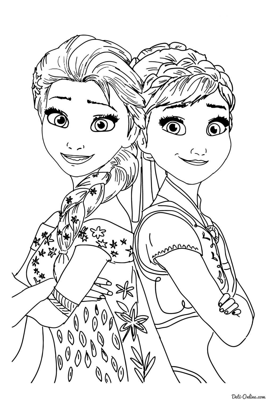 Раскраска Эльза и Анна in 2020 | Disney princess coloring ...