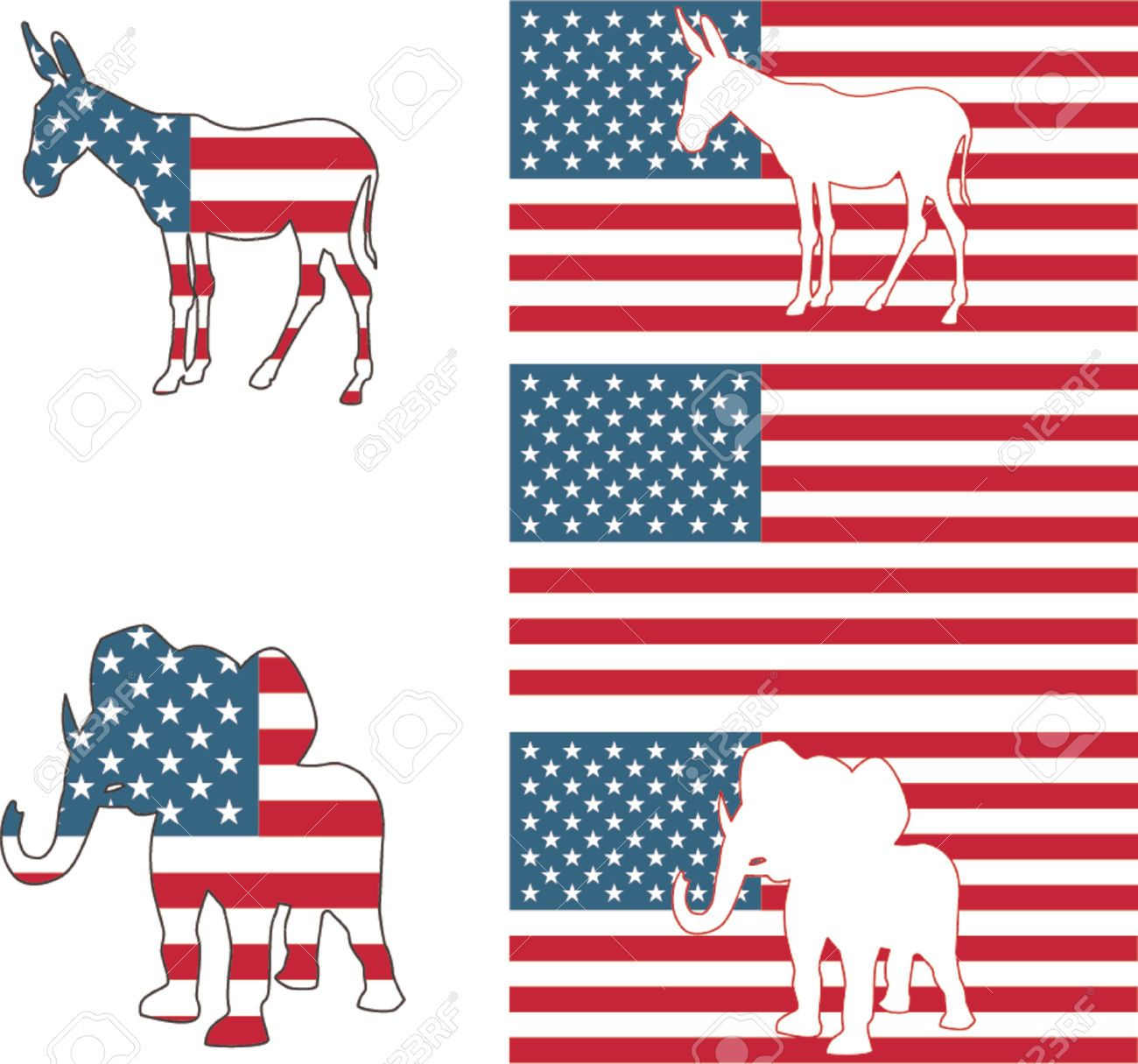 The Democrat And Republican Symbols Of A Donkey And Elephant