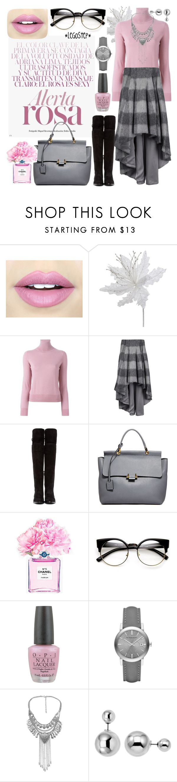 """""""Winter rose"""" by legostep ❤ liked on Polyvore featuring Fiebiger, P.A.R.O.S.H., dominic louis, Dolce&Gabbana, Lanvin, Chanel, OPI, Burberry and Lipsy"""