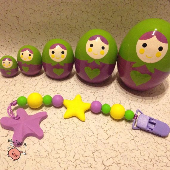 Silicone teething clip for pacifier or toy. by WherePigletsFly