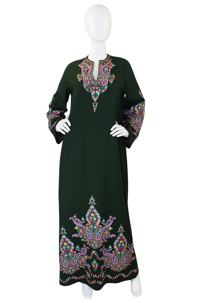 1930s Hand Done Crewel Embroidered Caftan
