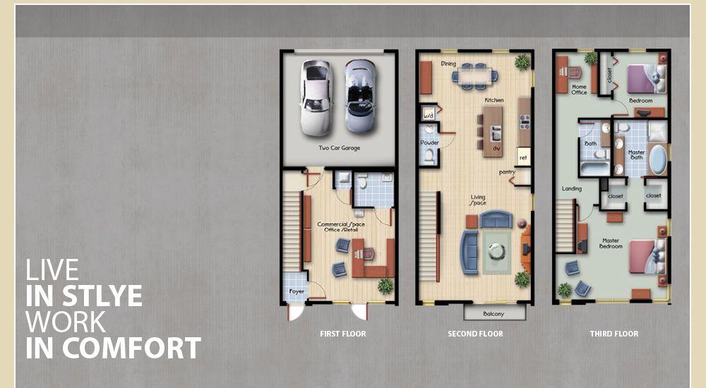 43 Urban Village - Live + Work | Floor plans, Townhouse ... on