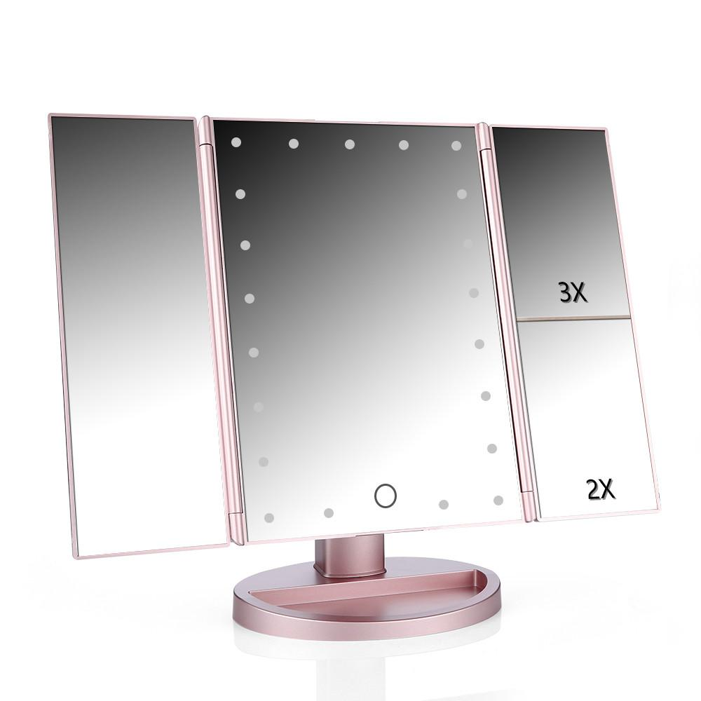 Touch Screen Led Table Makeup Mirror Tri Fold With Images Led