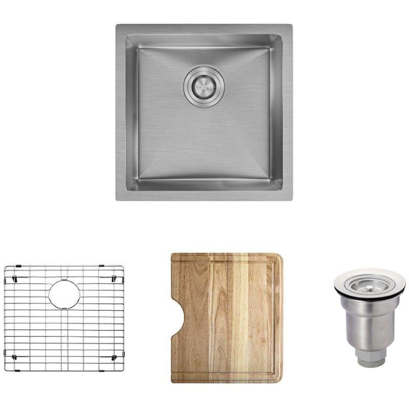 Rene By Elkay R1 1038 Rene 17 Single Basin Stainless Steel Kitchen Sink Basin Stainless Steel Stainless Steel Kitchen Sink Best Kitchen Sinks Kitchen Sink