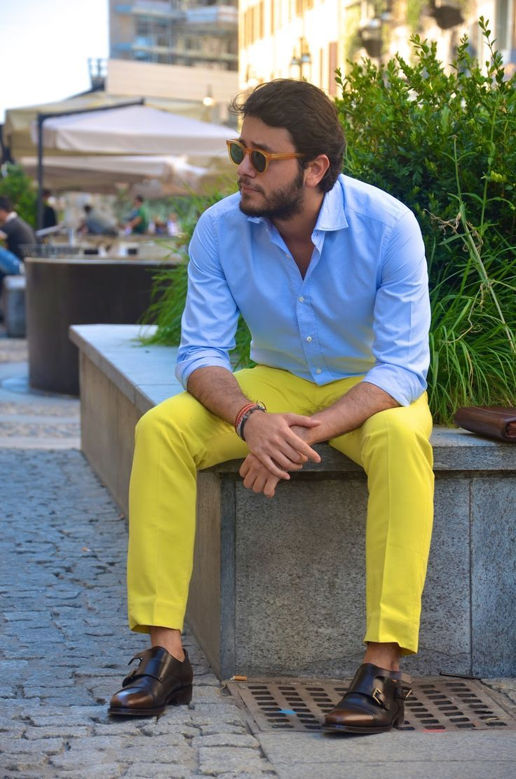 Get This Look For 122 Mens Yellow Pants Yellow Pants Outfit Light Blue Dress Shirt [ 1110 x 736 Pixel ]