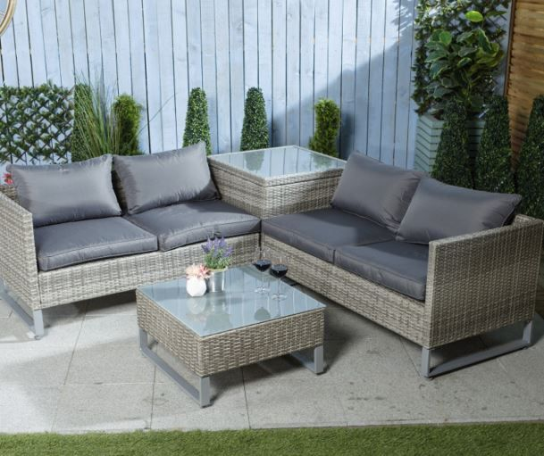 Rattan 4 Seater Furniture Set with Table - 4 Piece Set in ...