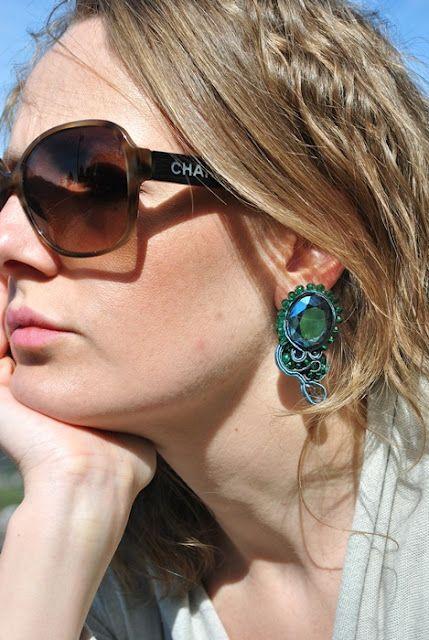 Ocean soutache earrings