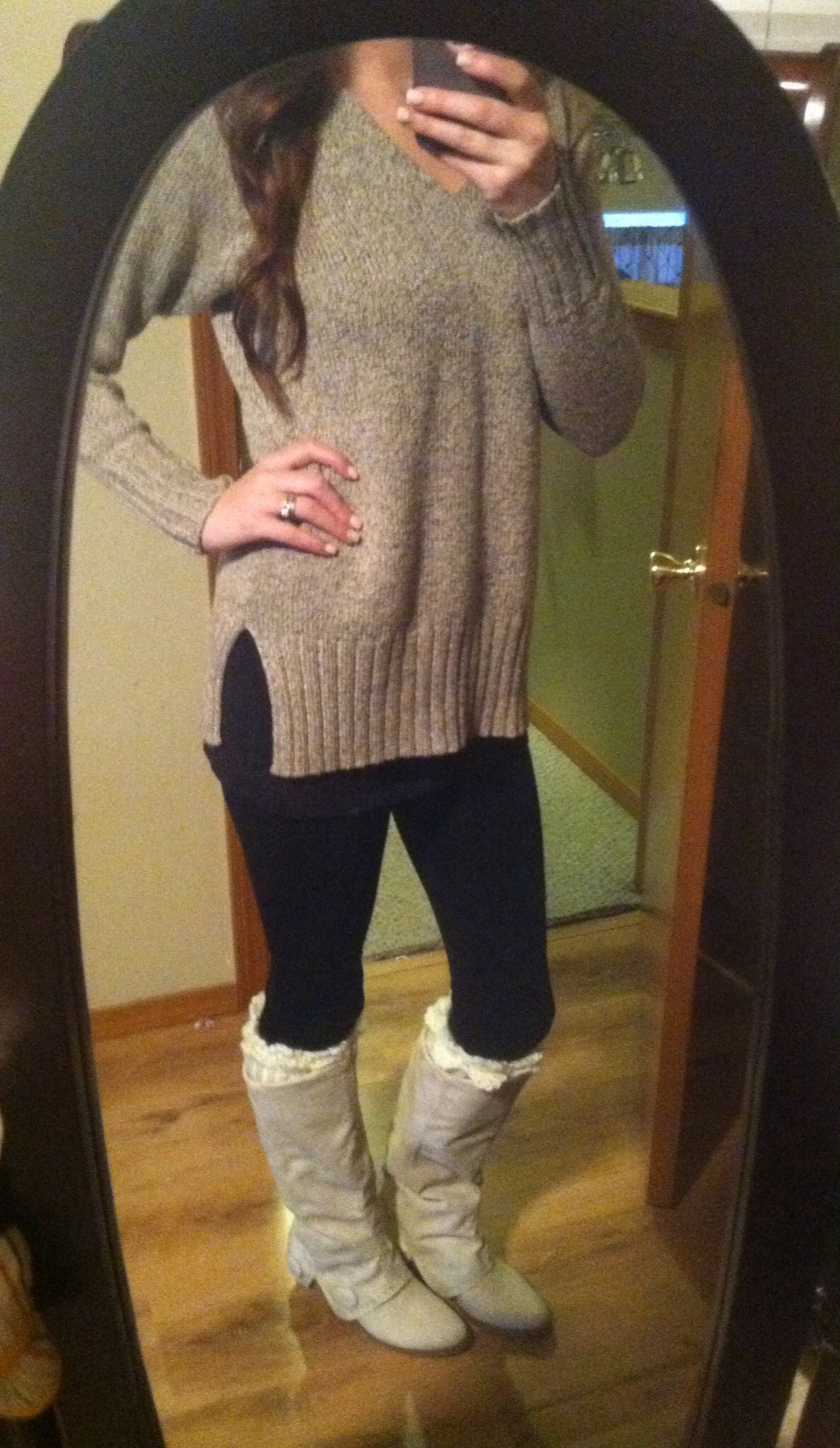 Oversized sweater, leggings, boot cuffs and boots- perfect cozy ...