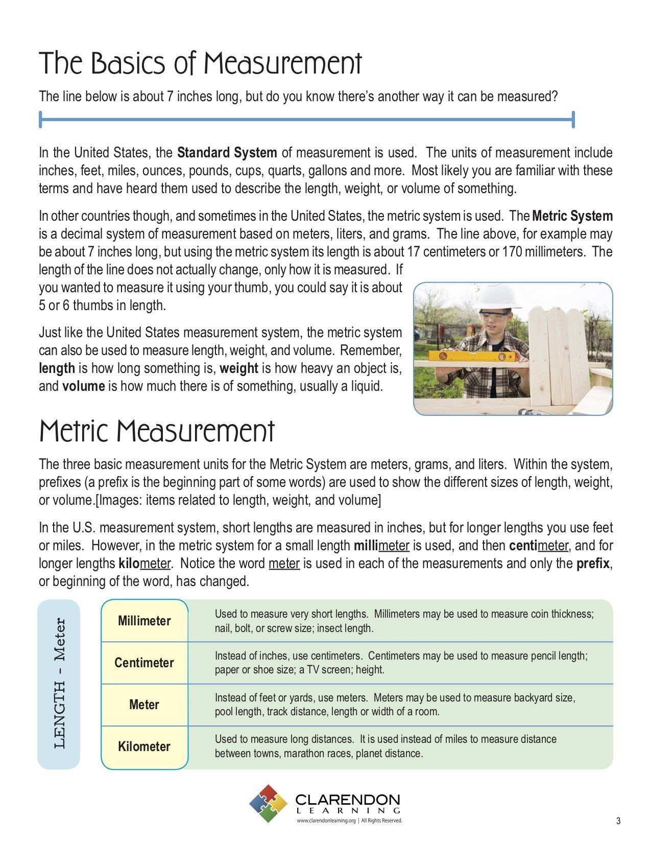 3rd Grade Measurement Worksheet Metric Measurement Grades