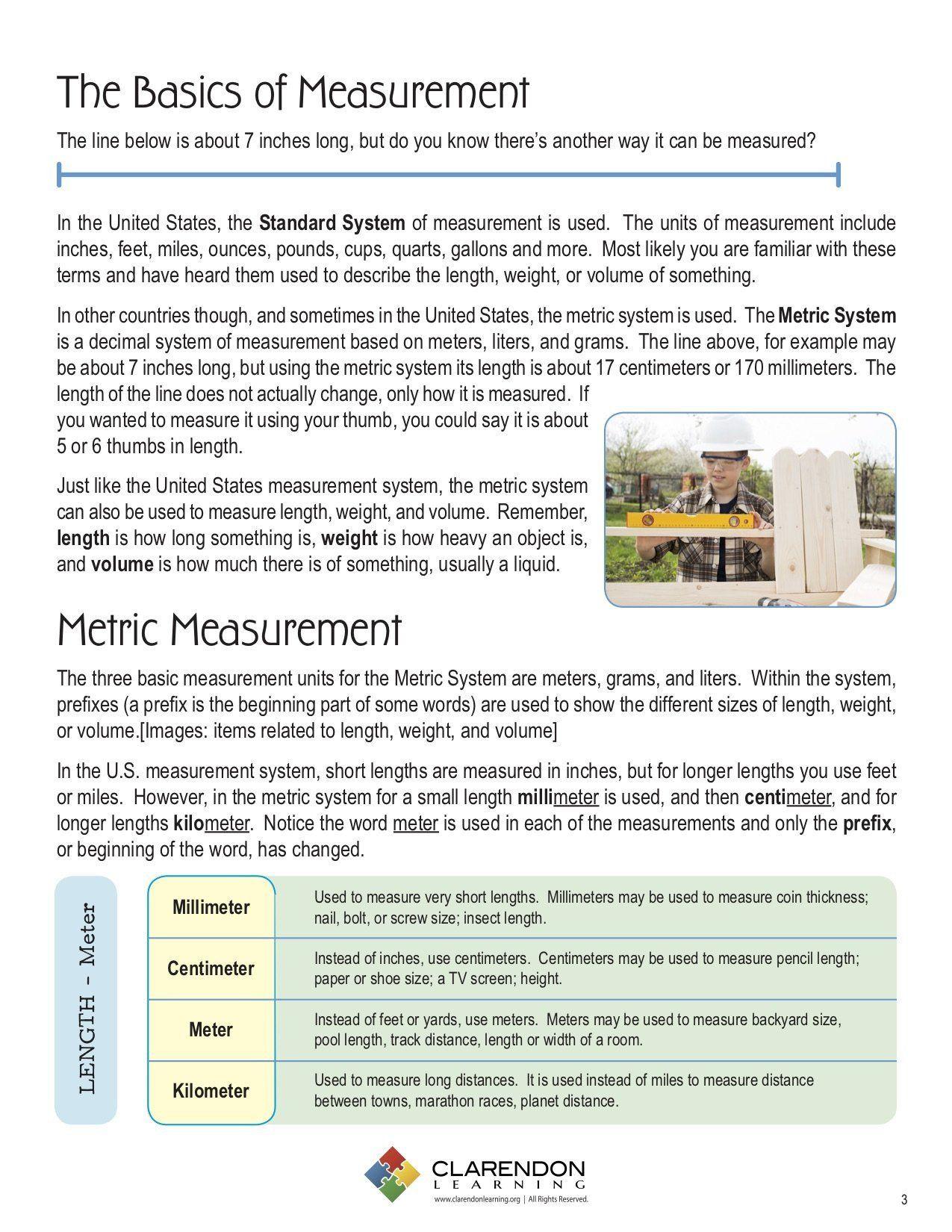 3rd Grade Measurement Worksheet Metric Measurement Grades