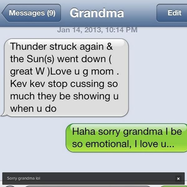 Kevin Durant Gets Hilarious Text from Grandma: 'Stop Cussing so Much'