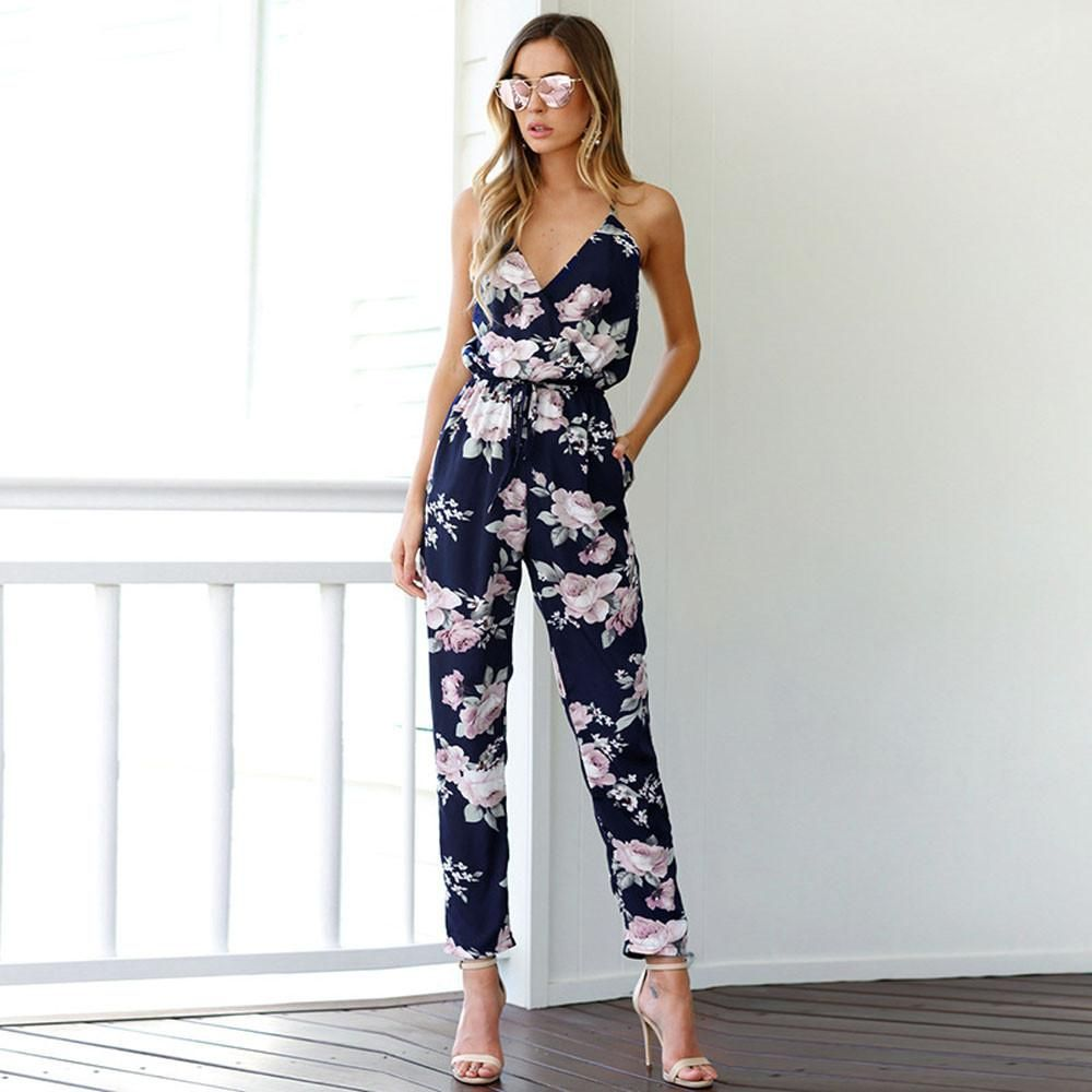 2e198f6adff2 Womens Ladies Summer Backless Sleeveless Strap Plus Size V-Neck Floral  Overalls Jumpsuits Rompers