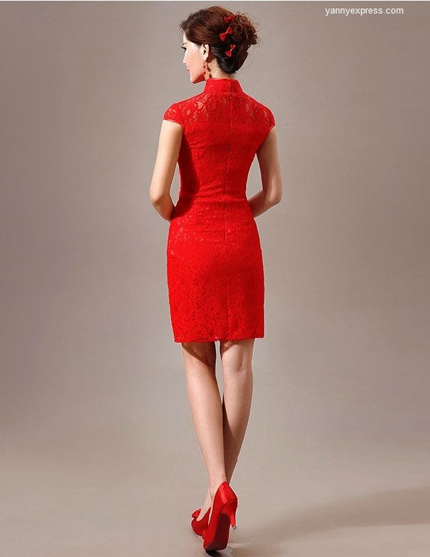 Chinese Wedding Short Qipao Red Lace Bridal Cheongsam | Chinese ...